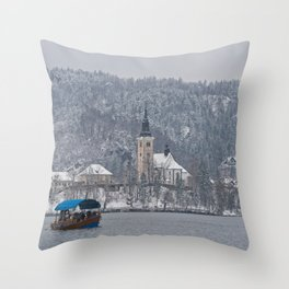 Bled Island Pletna Boat Throw Pillow
