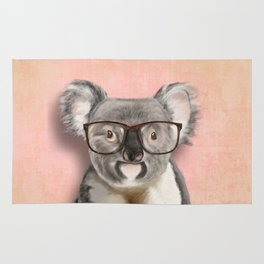 Funny koala with glasses Rug