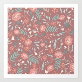 """""""lf & flwr"""" Floral Halftone Repeating Pattern Art Print"""
