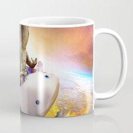 Space Dinosaur Riding Axolotl Mexican Walking Fish Coffee Mug