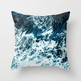 Disobedience - ocean waves painting texture Throw Pillow