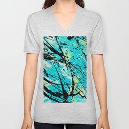 Abstract teal lime green brushstrokes black paint splatters Unisex V-Neck