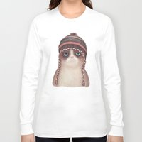 lime Long Sleeve T-shirts featuring Christmas Cat by Lime