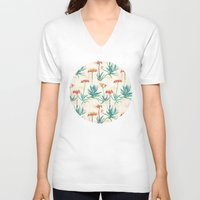 50s V-neck T-shirts featuring Flowering Succulent Pattern in Cream, Coral and Green by micklyn
