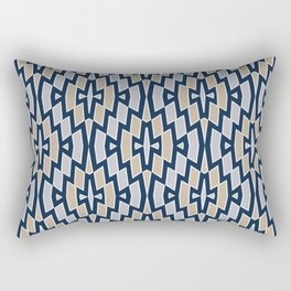 Tribal Diamond Pattern in Navy, Tan and Gray Rectangular Pillow