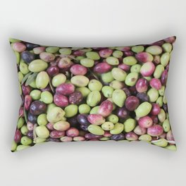 Black and green olives background Rectangular Pillow