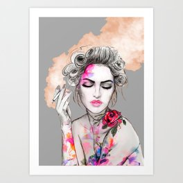 Tender girl, flowers and smoke. #picture Art Print