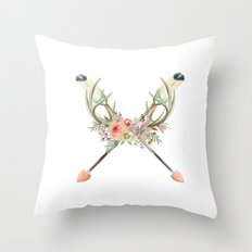 arrows and flowers - white Throw Pillow