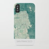 san francisco map iPhone & iPod Cases featuring San Francisco Map Blue Vintage  by City Art Posters