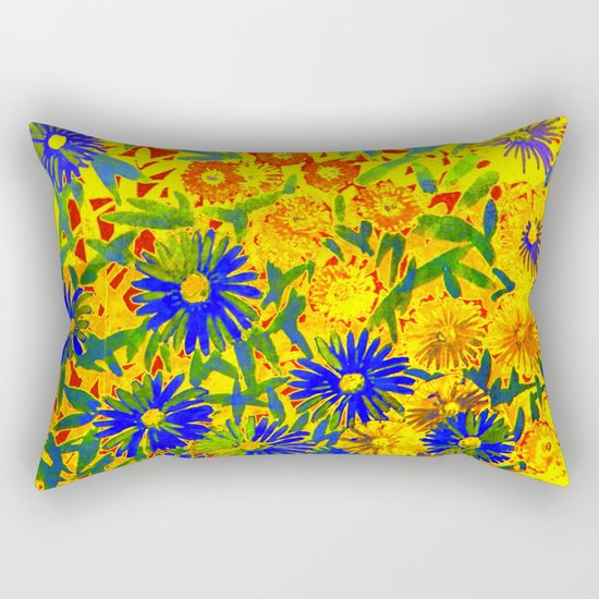 blue flowers by a sunny day Rectangular Pillow