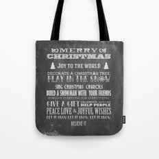 Christmas Chalk Board Typography Text Tote Bag