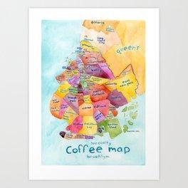 Brooklyn Coffee Map Art Print