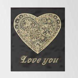 golden heart I love you Throw Blanket