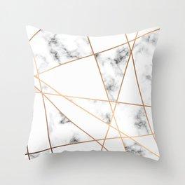 White, Gray, Gold Marble Geometric Pattern Throw Pillow