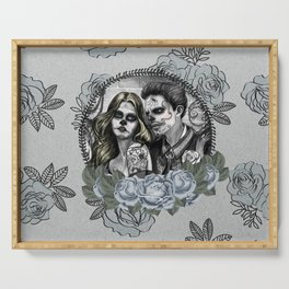 Day Of The Dead , Silver Rose Skulls Serving Tray