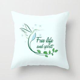 Hummingbird Free Life Quote Throw Pillow