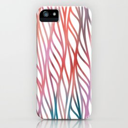 Geometrical coral pink teal watercolor pattern iPhone Case