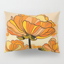 70s, Orange California poppies, mid century, 70s retro, flowers Pillow Sham