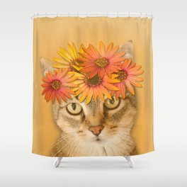Tabby Cat with Daisy Flower Crown, Mustard Yellow Background Shower Curtain