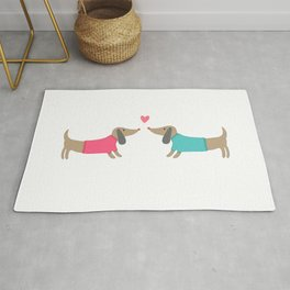 Cute dog lovers in love with heart Rug