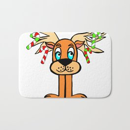 Spud the Christmas Reindeer with Candy Canes by Rosalie Bath Mat