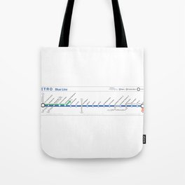 Twin Cities METRO Blue Line Map Tote Bag