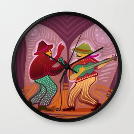 cheerful music band performing on stage Wall Clock