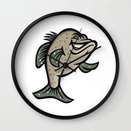 Crappie Fish Standing Mascot Wall Clock