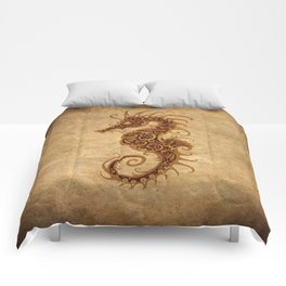 Aged Vintage Intricate Tribal Seahorse Design Comforters