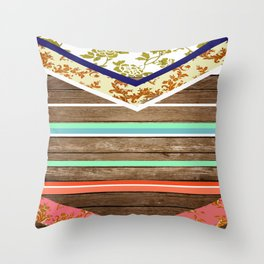 chevron  wood design Throw Pillow