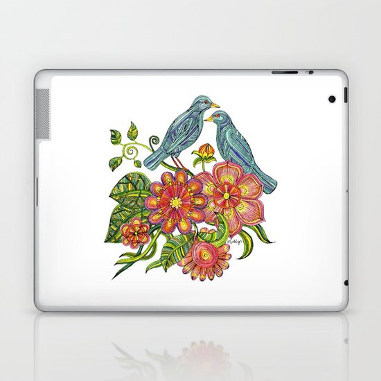 Fly Away With Me - Hand drawn illustration with birds, flowers and leaves. Laptop & iPad Skin