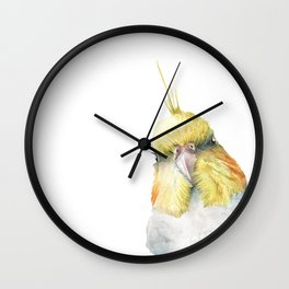 cockatiel in watercolor Wall Clock