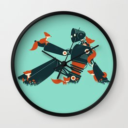 Foxes & The Robot Wall Clock