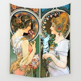 """Alphonse Mucha """"Primrose and Feather"""" Wall Tapestry"""