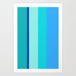 Ocean Blues Striped Pattern Art Print