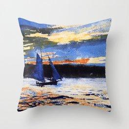 Winslow Homer's Gloucester Sunset nautical maritime landscape painting with sailboat - sailing Throw Pillow