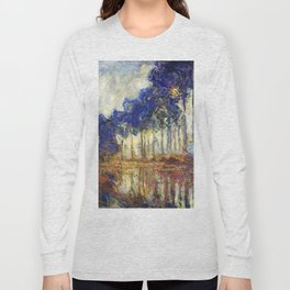 Poplars on the Bank of the Epte River by Claude Monet Long Sleeve T-shirt