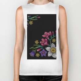 Embroidered Flowers on Black Corner 02 Biker Tank