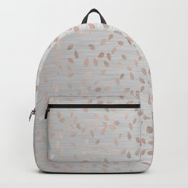 Falling Leaves in Rose Gold on Grey Backpack