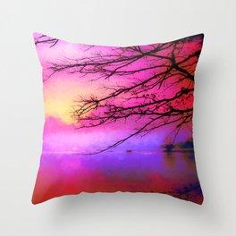 Purple on the lake Throw Pillow