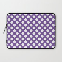 White Polka Dots with Purple Background Laptop Sleeve