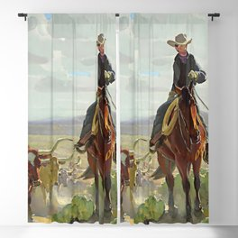 """""""Texas of Old"""" by W Herbert Dunton Blackout Curtain"""
