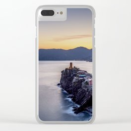 Vernazza at sunset, elevated view, Cinque Terre, UNESCO World Heritage Site, Liguria, Italy Clear iPhone Case