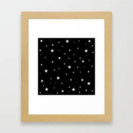 Scattered Stars - white on black Framed Art Print