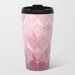 Pink gold geometric pattern Travel Mug