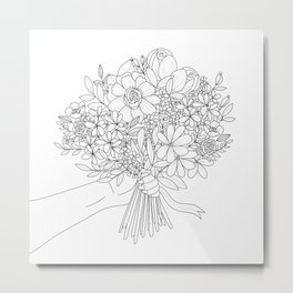 Farmer's Market Bouquet | Modern Line Drawing in Black and White Metal Print