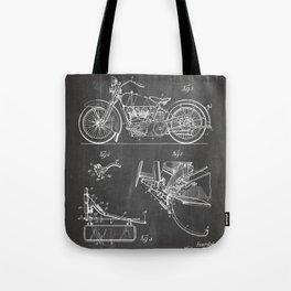 Harley Motorbike Patent - Harley Bike Art - Black Chalkboard Tote Bag