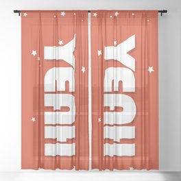 Yeah modern typography Sheer Curtain