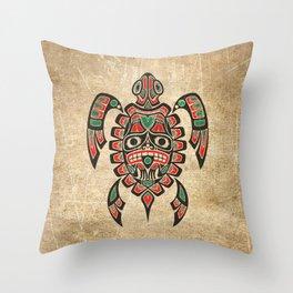 Vintage Red and Green Haida Spirit Sea Turtle Throw Pillow
