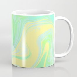 Lime Green Marble. Digital Suminagashi Liquid Color Abstraction Coffee Mug